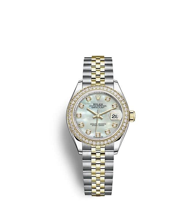 นาฬิกา Rolex Lady-Datejust 28 มม., ทองคำและเพชร หน้าปัดไข่มุก ขอบหน้าปัดประดับเพชร
