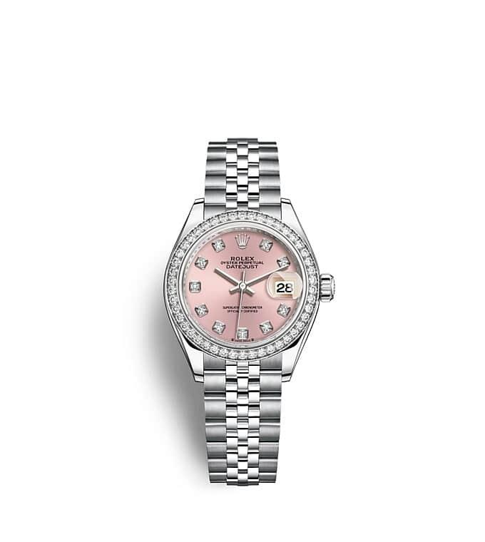 นาฬิกา Rolex Lady-Datejust 28 มม., ทองคำขาวและเพชร หน้าปัดสีชมพู ขอบหน้าปัดประดับเพชร