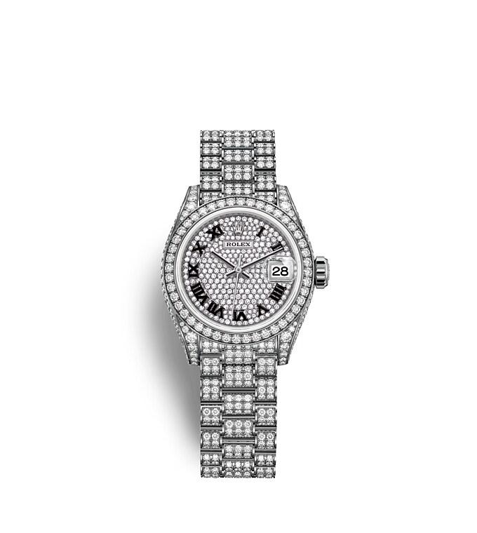 นาฬิกา Rolex Lady-Datejust 28 มม., ทองคำขาวและเพชร หน้าปัดและขอบหน้าปัดประดับเพชร